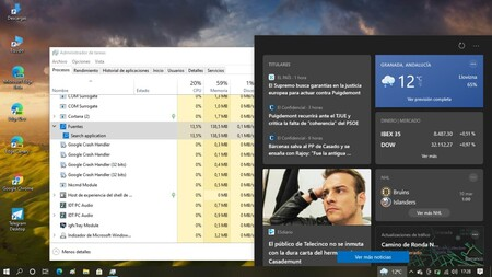 'News and interests' in the Windows 10 taskbar with their consumption according to the 'Task Manager'