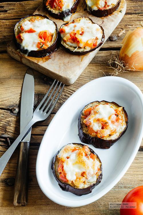 Mini pizzas de berenjena. Receta