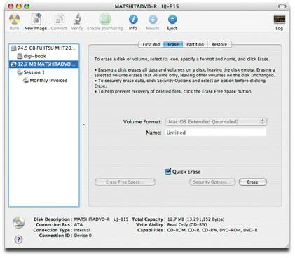 Borrar un disco regrabable desde Mac OS X