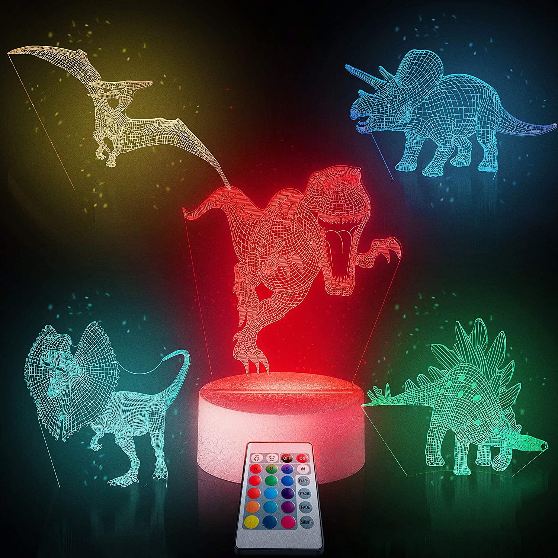 Luz nocturna de dinosaurio con 5 patrones de 16 colores cambiantes con mando a distancia