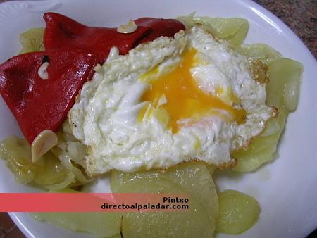 Receta de huevos estrellados con pimiento del piquillo