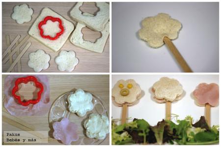 flores sandwiches merienda bebes y mas