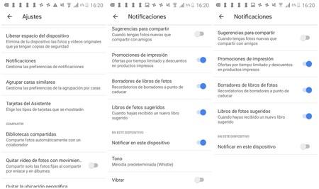 Notificaciones Google Fotos