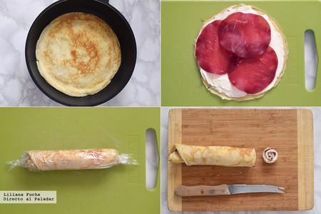 Rollitos de crêpe con queso crema y bresaola. Pasos
