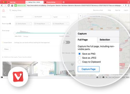 Vivaldi 1.7 llega facilitando la toma, edición y el compartir capturas de pantalla desde el navegador