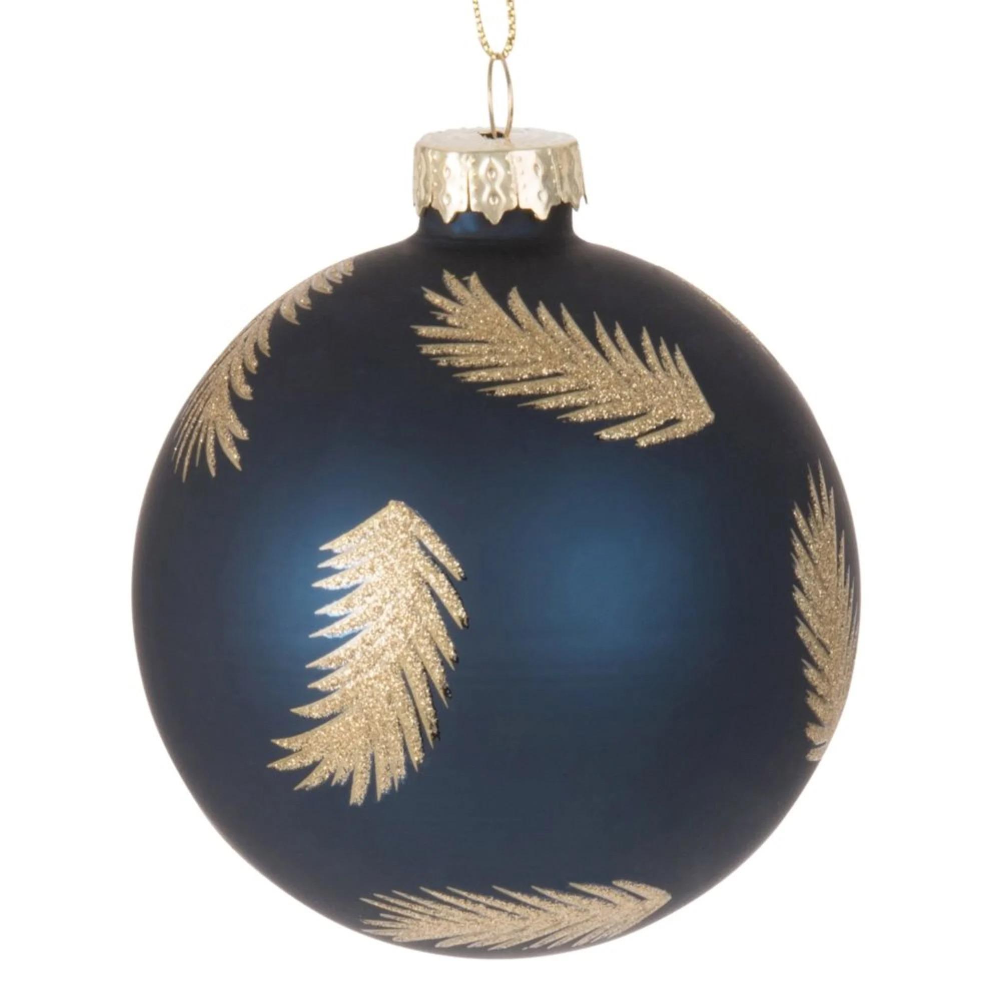 Bola de Navidad de cristal tintado azul con motivos de plumas de purpurina dorada - Lote de 6