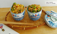 Yakimeshi con arroz integral y edamame. Receta