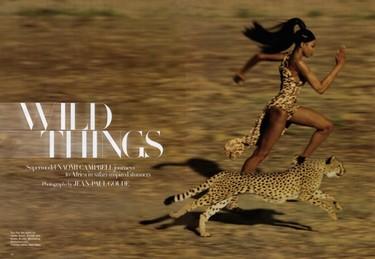 El verdadero print animal, editorial con Naomi Campbell en África