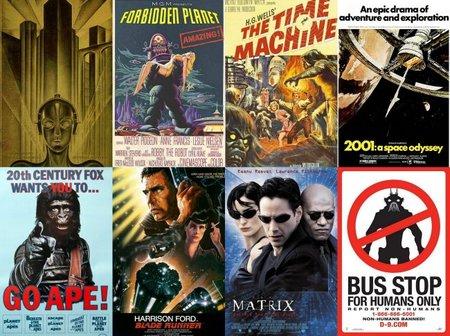 Los carteles de Metrópolis, Planeta Prohibido, El Tiempo en sus Manos, 2001, La saga de El Planeta de los Simios, Blade Runner, Matrix y District 9
