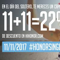 Single´s Day Honor: 11% + 11% de descuento durante el día de los solteros en su web oficial