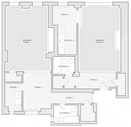2 estudios convertidos en un apartamento en Nueva York