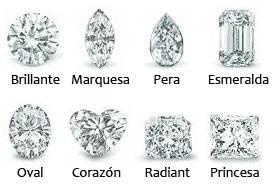 Diferentes tallas de diamantes