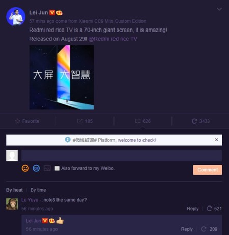 Redmi Note 8, confirmación de Lei Jun