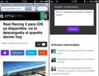 Actualizamos la versión móvil de Applesfera mejorando la lectura, gestos táctiles y comentarios