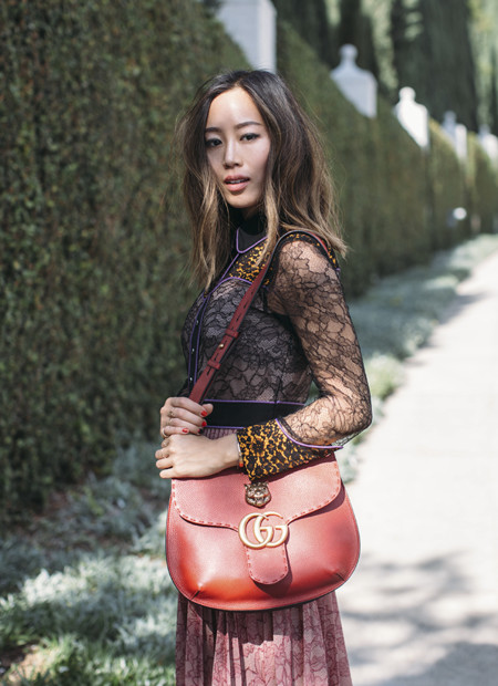 Aimee Song Of Style Gucci Marmont Shoulder Bag In Red Gucci Cruise