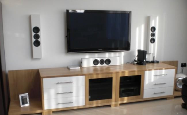 Refrigera el mueble del sal n para ubicar los dispositivos - Mueble multimedia ...