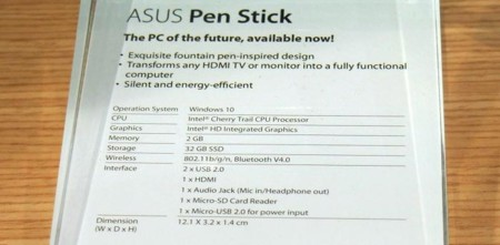 Asus Pen Stick Specs