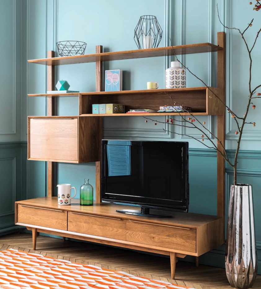Estantería-mueble de TV de roble macizo