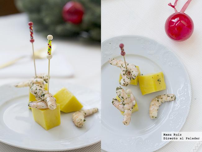 brocheta de langostino y mango