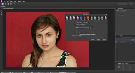 Exportar imágenes en affinity photo