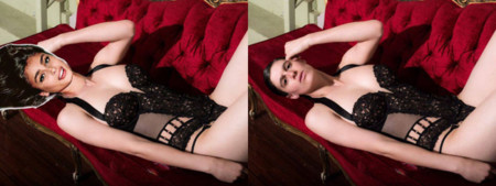 Gallery 1449686781 Rain Dove Black Lingerie Red Couch