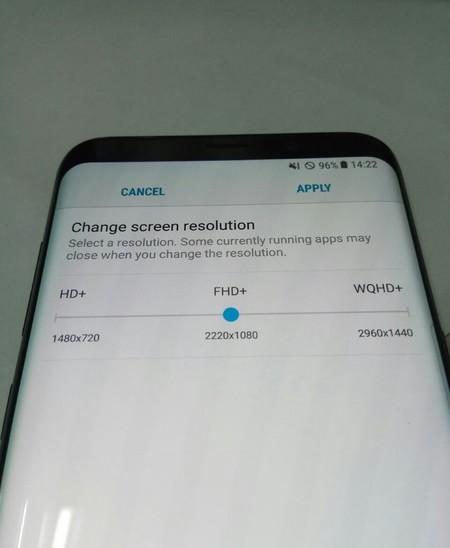 Esta captura muestra cómo cambiar la resolución de pantalla del Galaxy S8