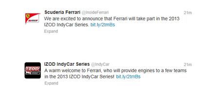 Twits Ferrari y IndyCar