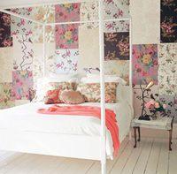 Una pared de patchwork, un dormitorio diferente