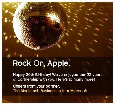 Felicitación de Microsoft a Apple por su 30 aniversario