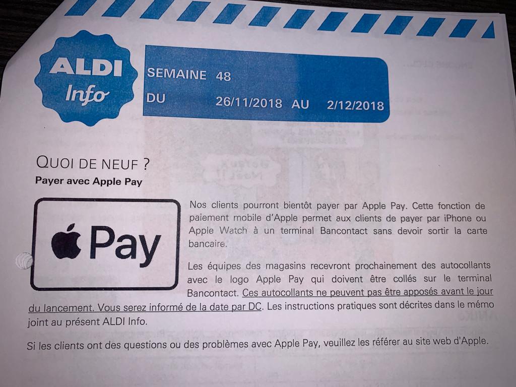 Apple Pay está a punto de llegar a Bélgica según una carta del supermercado ALDI filtrada