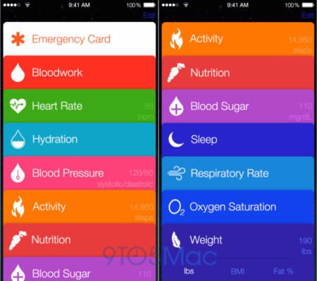 Así es Healthbook según 9to5Mac: fichas coloridas y multitud de constantes vitales
