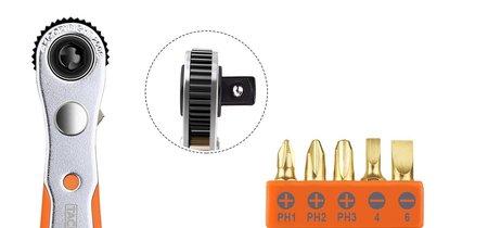 Cupón de 4 euros de descuento en el set de llave de carraca Tacklife HRSB1B con 23 accesorios. Se queda en 8,99 euros en Amazon