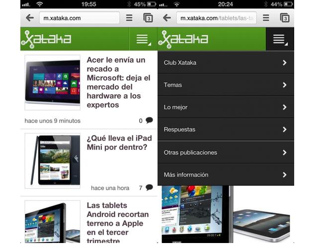 diseño nueva web móvil