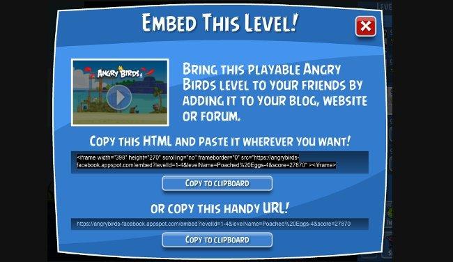 Angry Birds permite incrustar niveles en tus páginas web