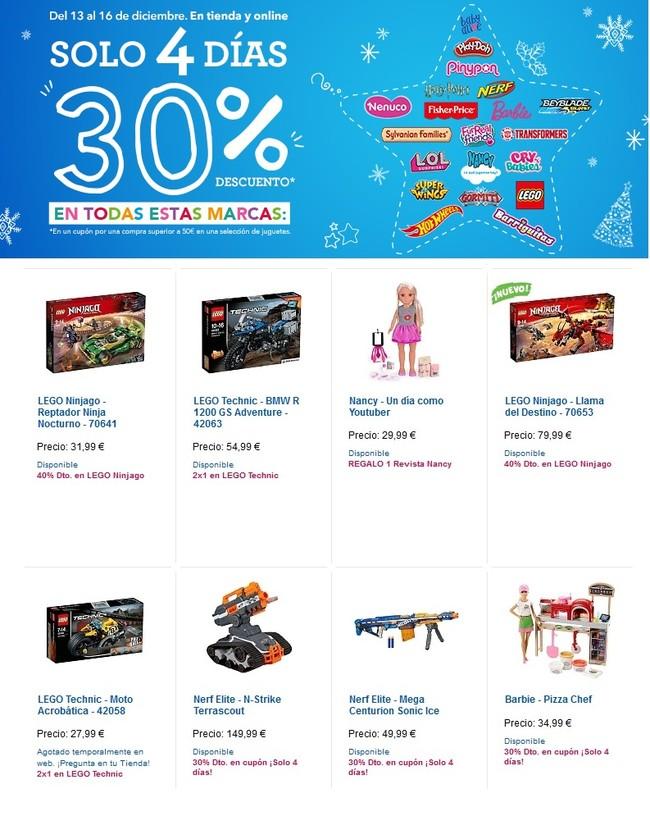 Toys 'r us nos ofrece un 30% de descuento en la siguiente compra de juguetes si gastamos 50 euros en marcas de primera línea