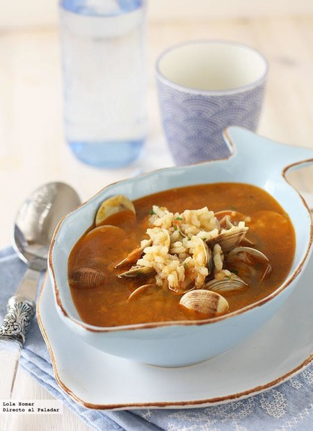 sopa de chirlas con arroz