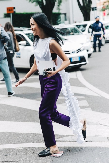 Mfw Milan Fashion Week Spring Summer 2016 Street Style Say Cheese Yoyo Cao Gucci Loafers 7 790x1185