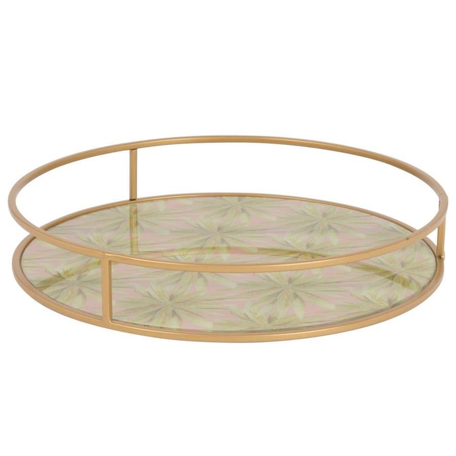 Bandeja redonda de cristal y metal dorado con motivos decorativos