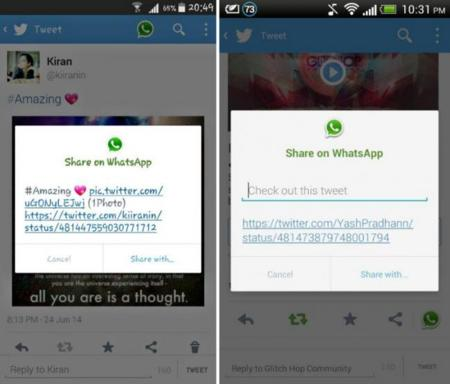 Twitter prueba un botón para compartir tweets directamente en WhatsApp