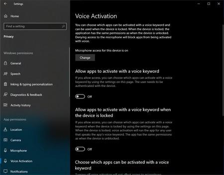 Nueva configuración de Cortana