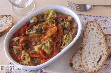 Ensalada de hortalizas asadas con aliño de cítricos. Receta