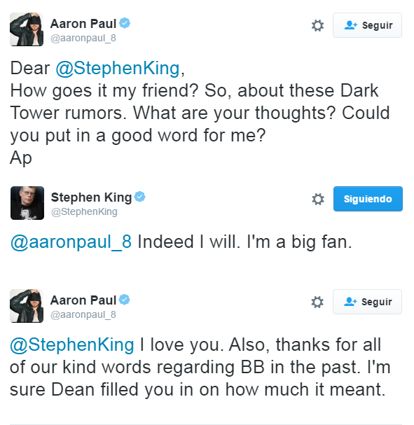Twitter Aaron Paul y Stephen King