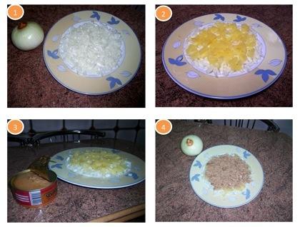 Proceso ensalada de cebolla dulce de Fuentes, piña y atún
