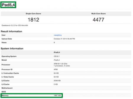 Se confirma que el iPad Air 2 cuenta con 2 GB de RAM y procesador de tres núcleos