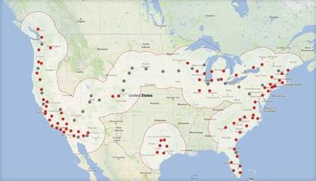 Mapa de la Red de Supercargadores de Tesla (Invierno 2013)