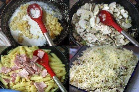 Penne Rigate al horno con champiñones y jamón. Pasos