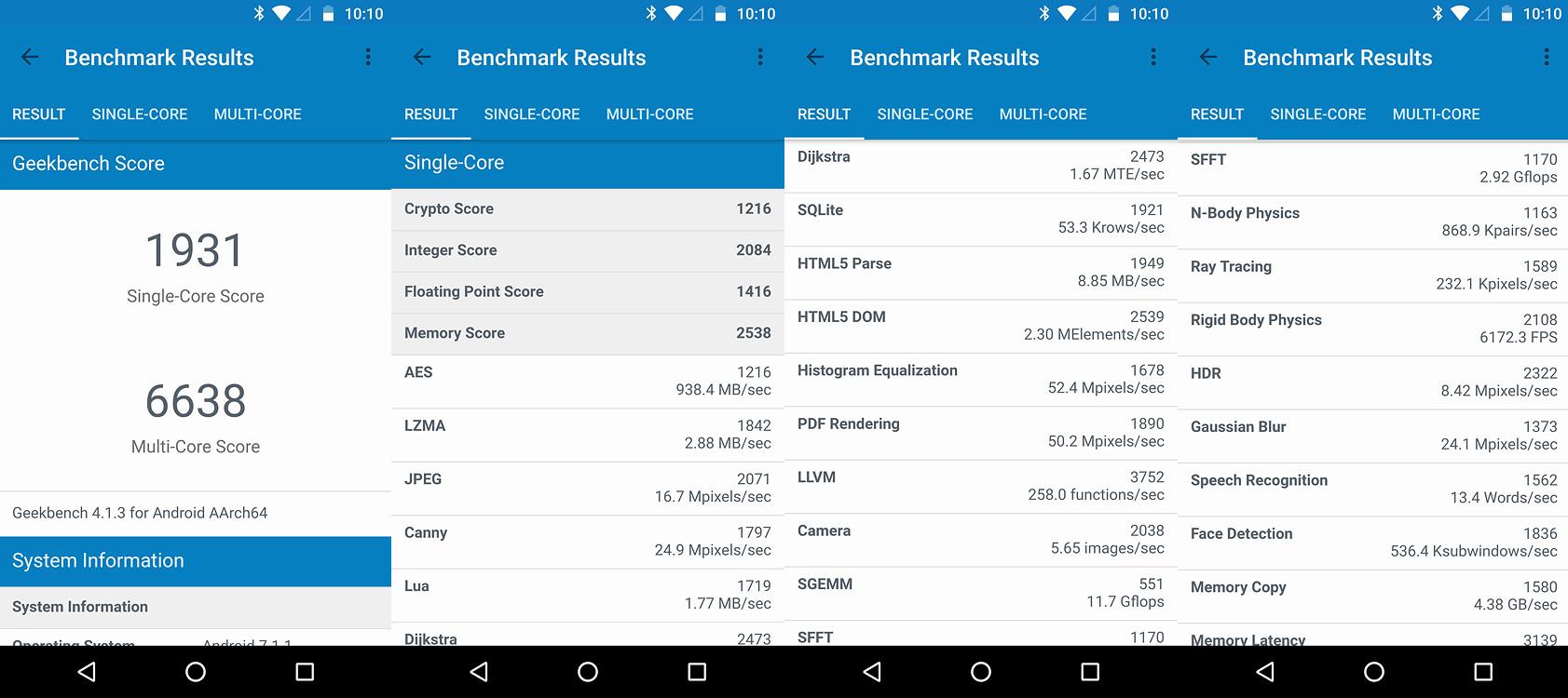 Moto Z2 Force, benchmarks