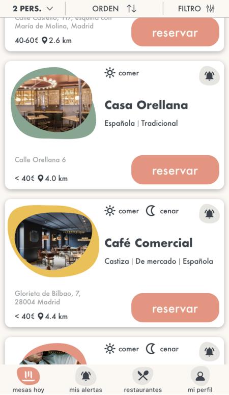 mayben app cancelaciones restaurantes madrid