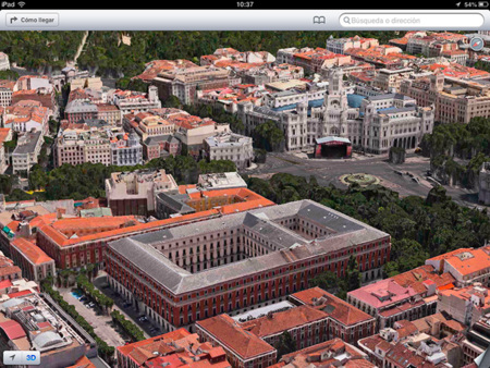 Mapa 3D de Madrid en iOS 6 beta 4 (Flyover)