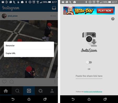 Cómo descargar imágenes y vídeos de Instagram en Android